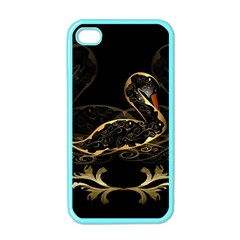 Wonderful Swan In Gold And Black With Floral Elements Apple iPhone 4 Case (Color)