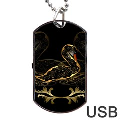 Wonderful Swan In Gold And Black With Floral Elements Dog Tag Usb Flash (one Side)