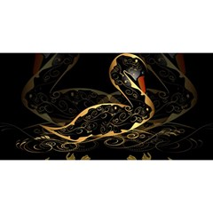 Wonderful Swan In Gold And Black With Floral Elements You Are Invited 3d Greeting Card (8x4)