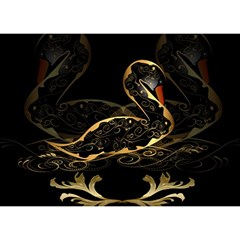 Wonderful Swan In Gold And Black With Floral Elements Birthday Cake 3d Greeting Card (7x5)