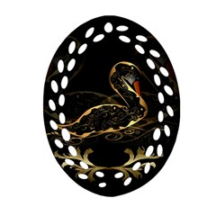 Wonderful Swan In Gold And Black With Floral Elements Oval Filigree Ornament (2 Side)
