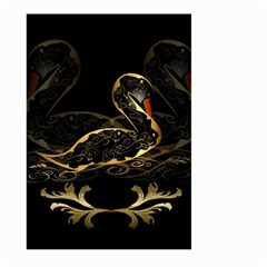Wonderful Swan In Gold And Black With Floral Elements Large Garden Flag (Two Sides)