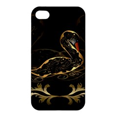 Wonderful Swan In Gold And Black With Floral Elements Apple iPhone 4/4S Premium Hardshell Case