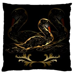 Wonderful Swan In Gold And Black With Floral Elements Large Cushion Cases (One Side)