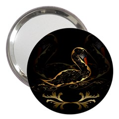 Wonderful Swan In Gold And Black With Floral Elements 3  Handbag Mirrors