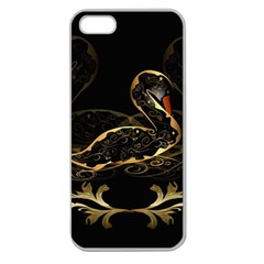Wonderful Swan In Gold And Black With Floral Elements Apple Seamless iPhone 5 Case (Clear)