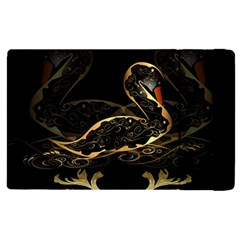 Wonderful Swan In Gold And Black With Floral Elements Apple iPad 2 Flip Case