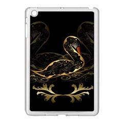 Wonderful Swan In Gold And Black With Floral Elements Apple iPad Mini Case (White)