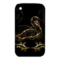 Wonderful Swan In Gold And Black With Floral Elements Apple Iphone 3g/3gs Hardshell Case (pc+silicone)