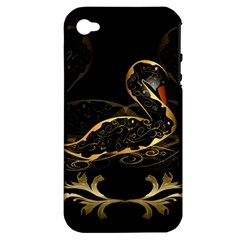 Wonderful Swan In Gold And Black With Floral Elements Apple iPhone 4/4S Hardshell Case (PC+Silicone)