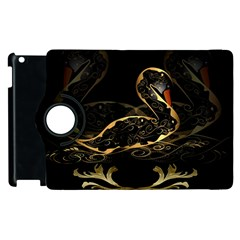Wonderful Swan In Gold And Black With Floral Elements Apple iPad 2 Flip 360 Case