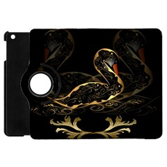 Wonderful Swan In Gold And Black With Floral Elements Apple iPad Mini Flip 360 Case