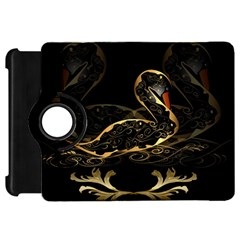 Wonderful Swan In Gold And Black With Floral Elements Kindle Fire HD Flip 360 Case