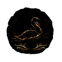 Wonderful Swan In Gold And Black With Floral Elements Standard 15  Premium Round Cushions