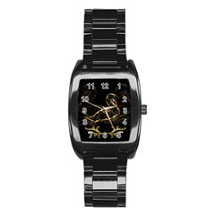Wonderful Swan In Gold And Black With Floral Elements Stainless Steel Barrel Watch
