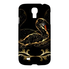 Wonderful Swan In Gold And Black With Floral Elements Samsung Galaxy S4 I9500/I9505 Hardshell Case