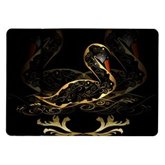Wonderful Swan In Gold And Black With Floral Elements Samsung Galaxy Tab 10.1  P7500 Flip Case