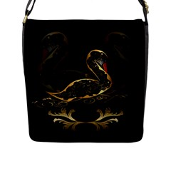 Wonderful Swan In Gold And Black With Floral Elements Flap Messenger Bag (L)