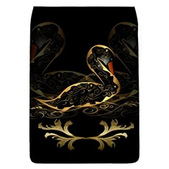 Wonderful Swan In Gold And Black With Floral Elements Flap Covers (L)