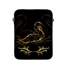 Wonderful Swan In Gold And Black With Floral Elements Apple iPad 2/3/4 Protective Soft Cases