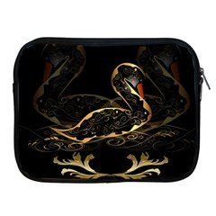 Wonderful Swan In Gold And Black With Floral Elements Apple iPad 2/3/4 Zipper Cases