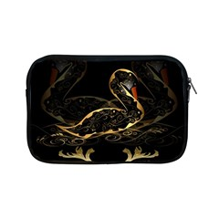 Wonderful Swan In Gold And Black With Floral Elements Apple iPad Mini Zipper Cases