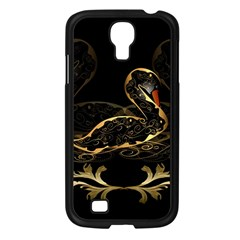Wonderful Swan In Gold And Black With Floral Elements Samsung Galaxy S4 I9500/ I9505 Case (Black)