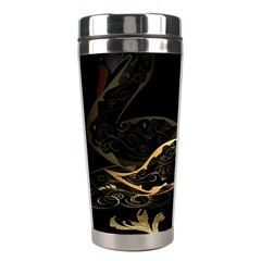 Wonderful Swan In Gold And Black With Floral Elements Stainless Steel Travel Tumblers