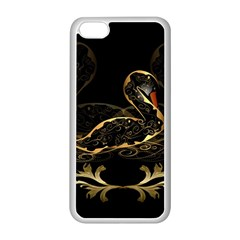 Wonderful Swan In Gold And Black With Floral Elements Apple iPhone 5C Seamless Case (White)