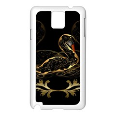 Wonderful Swan In Gold And Black With Floral Elements Samsung Galaxy Note 3 N9005 Case (White)