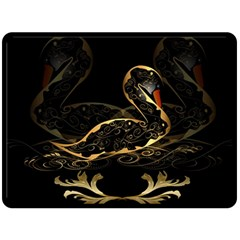Wonderful Swan In Gold And Black With Floral Elements Double Sided Fleece Blanket (large)