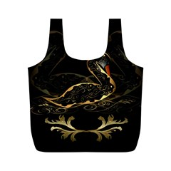Wonderful Swan In Gold And Black With Floral Elements Full Print Recycle Bags (m)