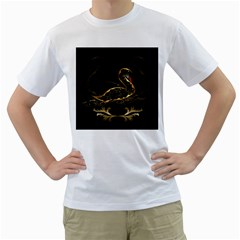 Wonderful Swan In Gold And Black With Floral Elements Men s T-Shirt (White)