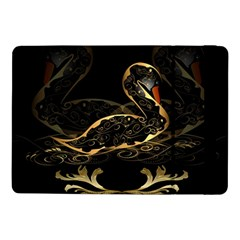 Wonderful Swan In Gold And Black With Floral Elements Samsung Galaxy Tab Pro 10 1  Flip Case