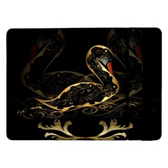 Wonderful Swan In Gold And Black With Floral Elements Samsung Galaxy Tab Pro 12.2  Flip Case