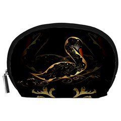 Wonderful Swan In Gold And Black With Floral Elements Accessory Pouches (Large)
