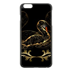 Wonderful Swan In Gold And Black With Floral Elements Apple iPhone 6 Plus/6S Plus Black Enamel Case