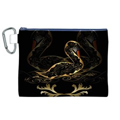 Wonderful Swan In Gold And Black With Floral Elements Canvas Cosmetic Bag (XL)