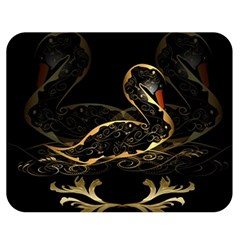 Wonderful Swan In Gold And Black With Floral Elements Double Sided Flano Blanket (medium)