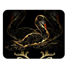 Wonderful Swan In Gold And Black With Floral Elements Double Sided Flano Blanket (large)