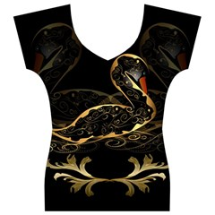 Wonderful Swan In Gold And Black With Floral Elements Women s V-Neck Cap Sleeve Top