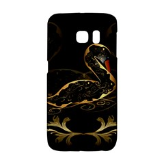 Wonderful Swan In Gold And Black With Floral Elements Galaxy S6 Edge