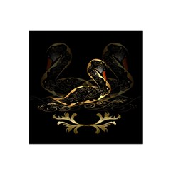 Wonderful Swan In Gold And Black With Floral Elements Satin Bandana Scarf