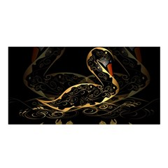 Wonderful Swan In Gold And Black With Floral Elements Satin Shawl