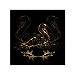 Wonderful Swan In Gold And Black With Floral Elements Small Satin Scarf (square)