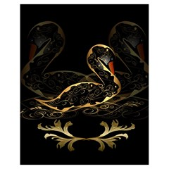 Wonderful Swan In Gold And Black With Floral Elements Drawstring Bag (Small)