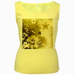 Vintage, Wonderful Flowers With Dragonflies Women s Yellow Tank Tops