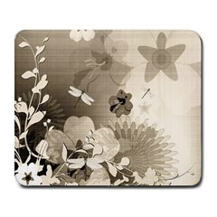 Vintage, Wonderful Flowers With Dragonflies Large Mousepads