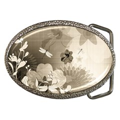 Vintage, Wonderful Flowers With Dragonflies Belt Buckles