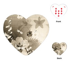 Vintage, Wonderful Flowers With Dragonflies Playing Cards (Heart)